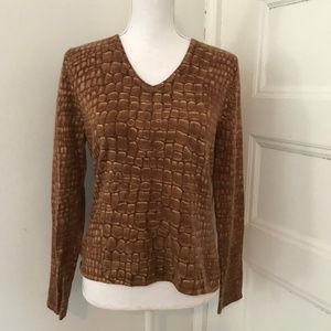 Talbot Brown Alligator Print Cashmere Silk Sweater